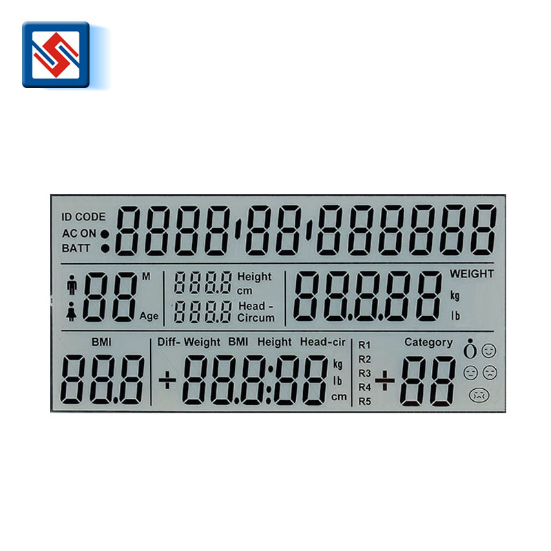 TN lcd 12 O'clock positive flexible lcd display custom lcd display for fat determination system