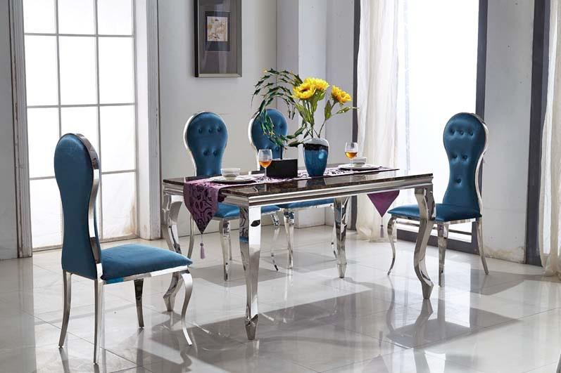 Conception de table en acier inoxydable chaise en haute for Menage salon