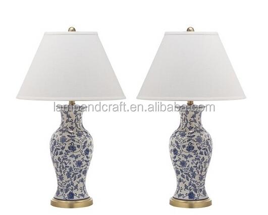 E26 Socket Golden Base Antique Flower Pattern Ceramic Table Lamp ...