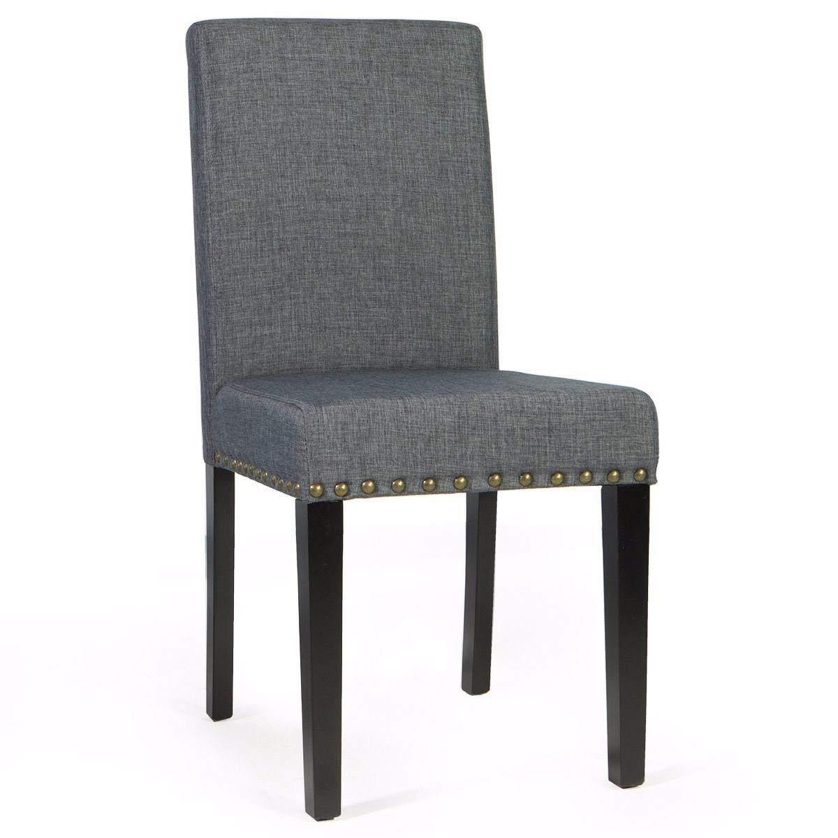 KCHEX>1 Pair Sleek Parson Modern Gray Nailhead Trim Dining Chairs Barton Furniture>The Barton Upholstered Dining Chairs with Nailheads add Beauty to Any Table.