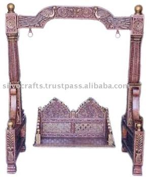 Royal Indian Rajasthani Jodhpur Hand Carved Wooden Swing Jhula ...