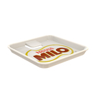 Logo Customization Square Tray 120x120mm Cheap Square Advertising Melamine Plastic Cash Tray with Clip OEM Custom Advising Print Design