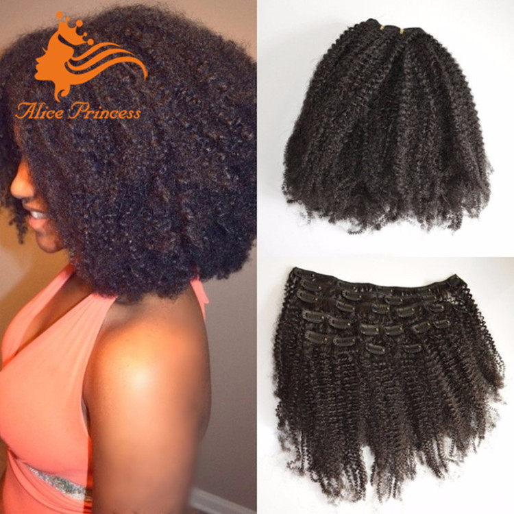 8a Grade Afro Kinky Curly Human Hair Clip In Extensions For Black
