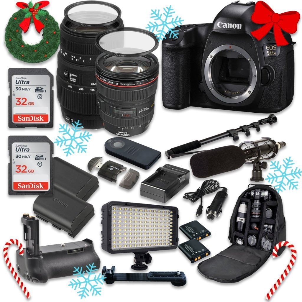 Canon EOS 5DS 50.6MP Full Frame CMOS Digital SLR DSLR Camera with EF 24-105mm f/4 L IS USM Lens + Sigma 70-300mm f/4-5.6 DG Macro + 2pc SanDisk 32GB Memory Cards + Holiday Accessory Bundle
