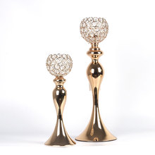 No3454 long-stemmed for wedding table centerpiece decorative crystal beads rose gold metal glass candlesick candle holders