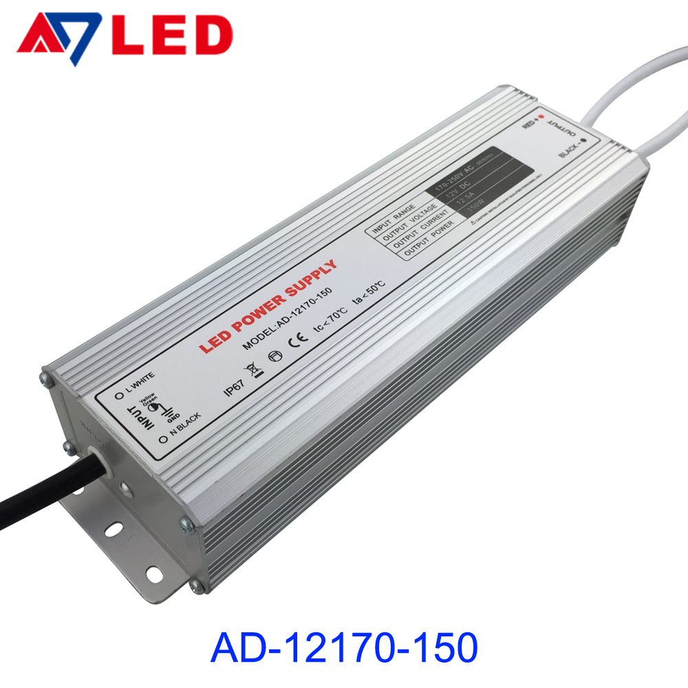 Low energy consumption ip67 led power supply with 150w