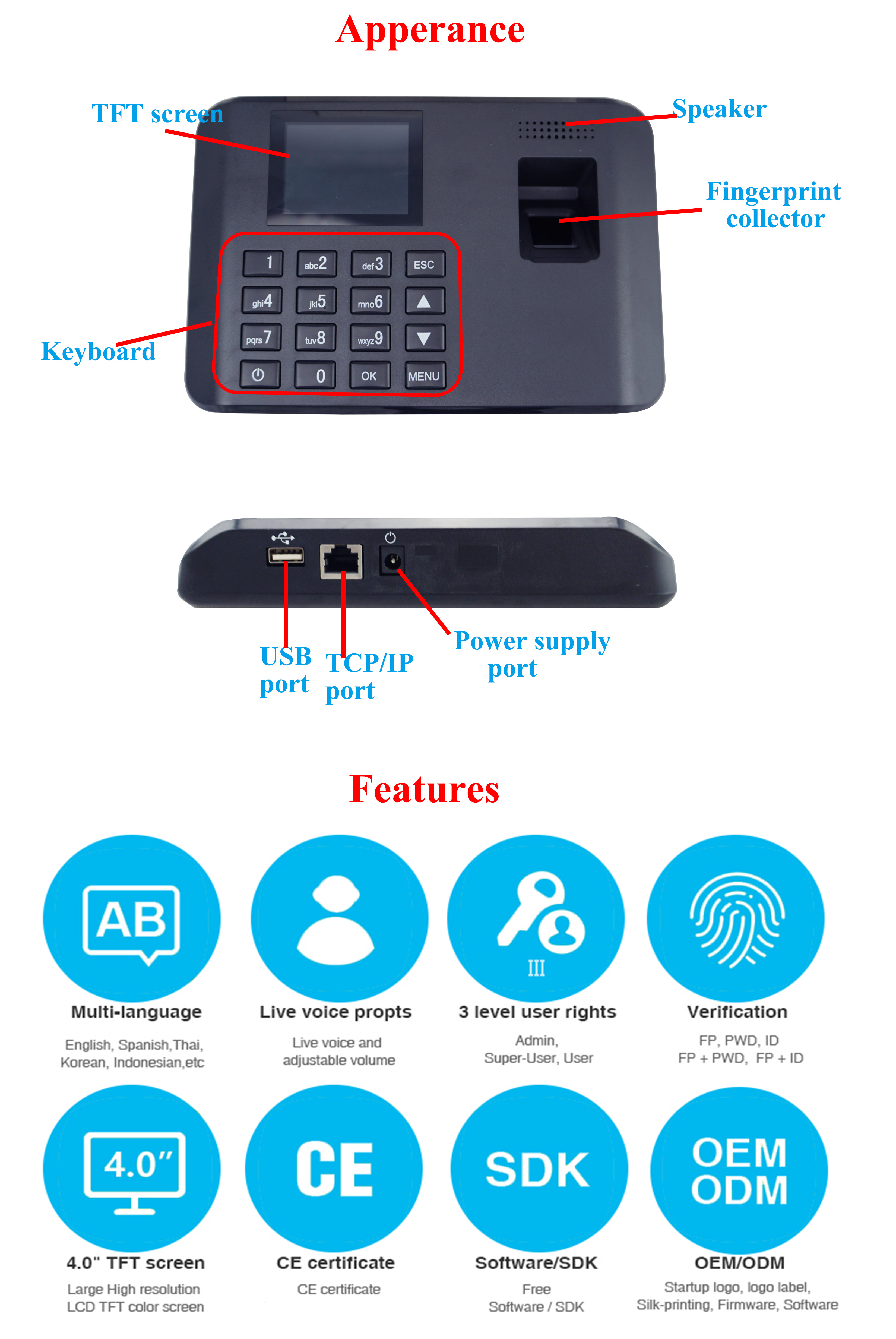 SMQT new 4.0 inch colorful TFT display Fingerprint Time Attendance Biometric Time Clocks Systems Reader