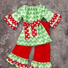 Long sleeve ruffle clothes have print waves and ruffle trousers little girl christmas colthing set