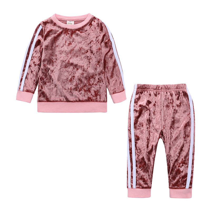 bb83f756405b5 2019 erkek bebek giyim setleri Çocuk Kız Eşofman Spor Takım Elbise Polar  Ceket Bahar Sonbahar Elbise