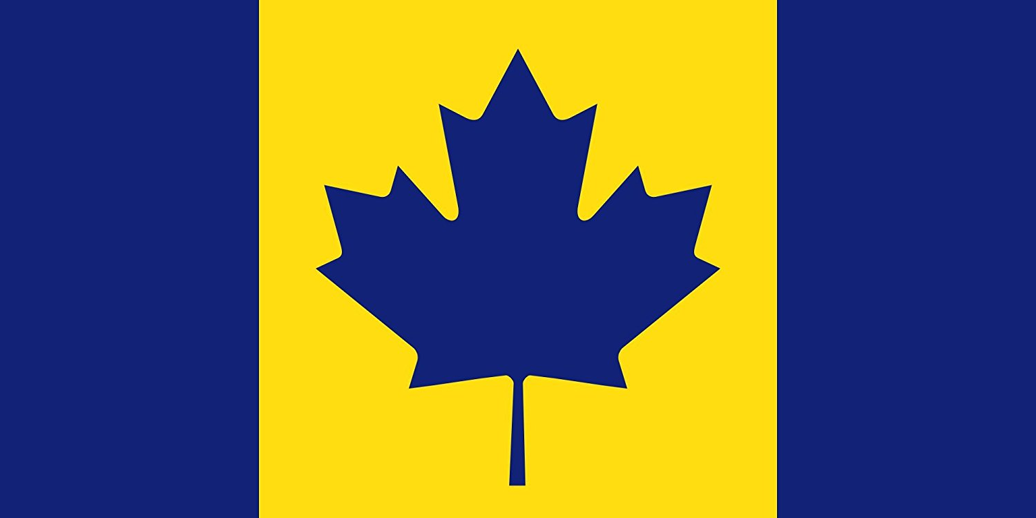 magFlags Large Flag Canada recolour | The maize and blue Michigan Wolverines colored Flag of Canada used to cheer on Stauskas | landscape flag | 1.35qm | 14.5sqft -- 100% Made in Germany -- long l