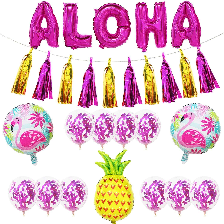 Aloha Party Decorations | Include Aloha Balloons + 10pcs Confetti Balloons + 10pcs Tassel Banner + 2pcs Flamingo Balloons + 1pcs Pineapple Balloon | Hawaiian Tropical Luau Theme Party Decorations
