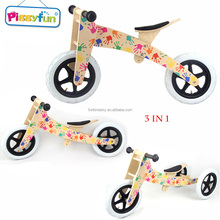 2018 New Design Best Gift Multi 3 in 1 Bicycle Toy Kids Wooden Balance Bike for Sale AT11105