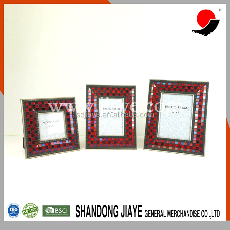 Set 3 Wholesale Manufacture Red Glass Mosaic Picture Photo Frame For Wedding
