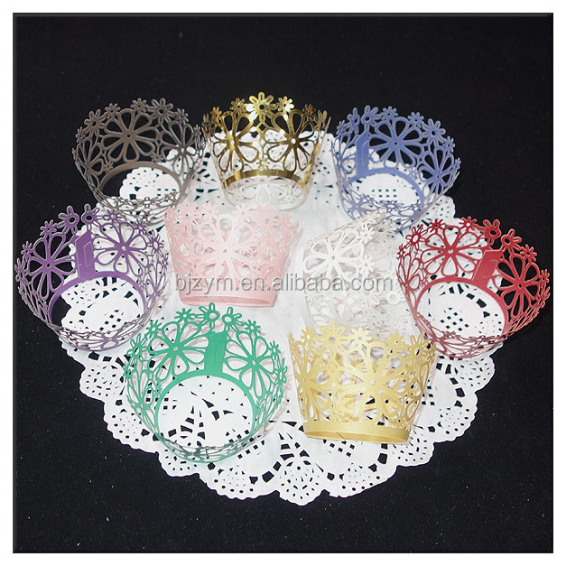 High quality lowest price custom flower bakery fondant decorations laser cut cupcake wrapper, different colors supply