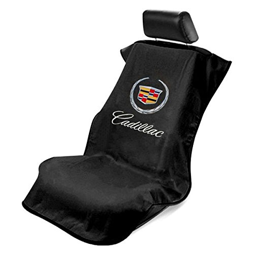 Seat Armour - BLK BLACK Seat Protector Towel Cover With Cadillac Logo SA100CADB