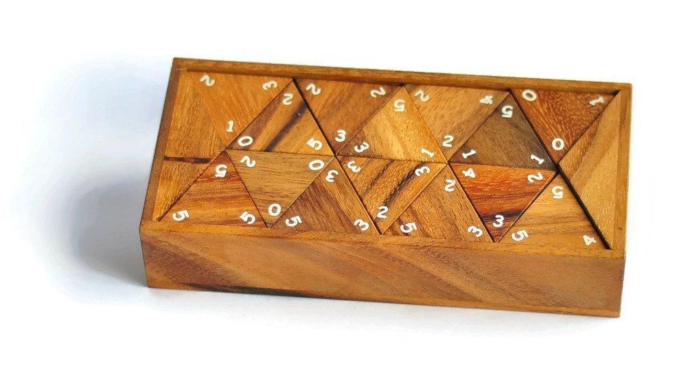 Triomino , Triomino game , Dominoes with numbers ,Dominoes Set , Wooden Game , Tri Dominoes
