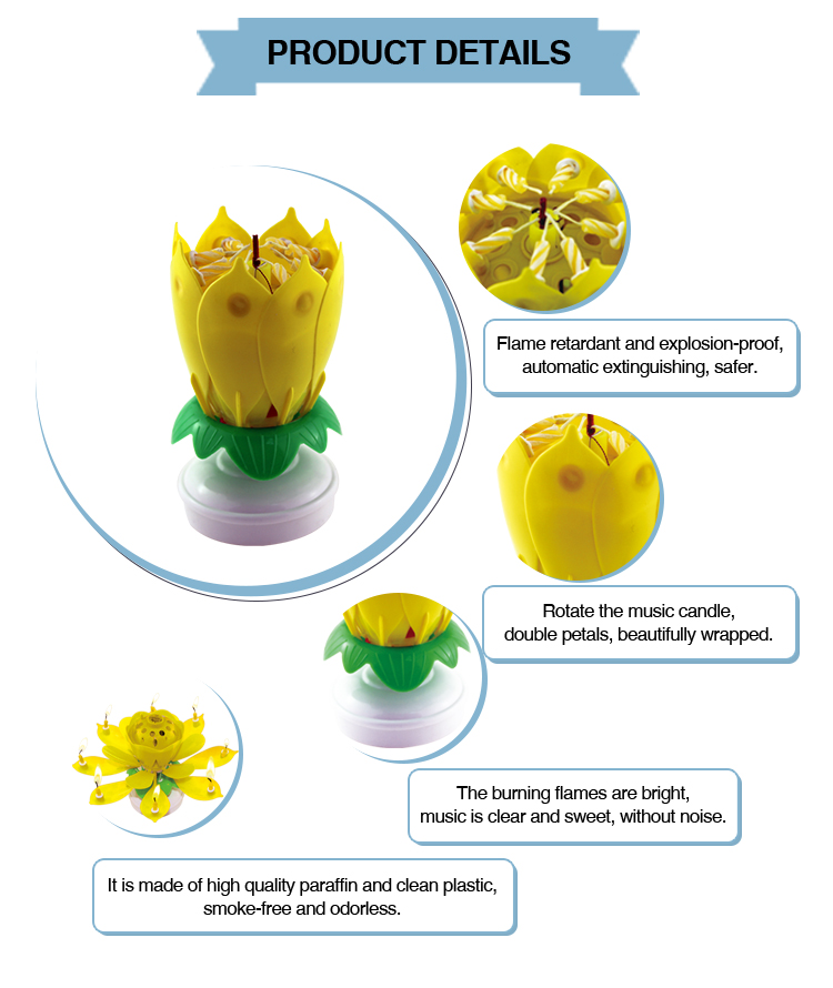 Hotsaling Lotus Rotating Musical Candle Sparkling Flower