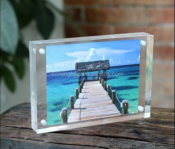 4x6 5x7 8x10 Clear Square Frameless Acrylic Magnetic Photo Frame ...