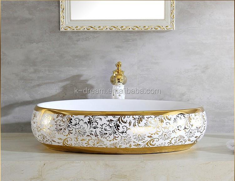 Moderne Oval Oben Zahler Becken Galvanik Gold Farbe Waschbecken