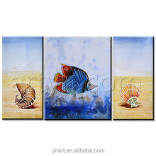 Wholesale 3 panel modern original beach seafood fish Oil Painting Group