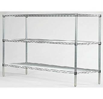 "Omega Precision - 3 Shelf Chrome Wire Starter Unit: Qty(3) 14"" Deep x 48"" Wide Chrome Wire Shelves Qty(4) 36"" High Chrome Posts"