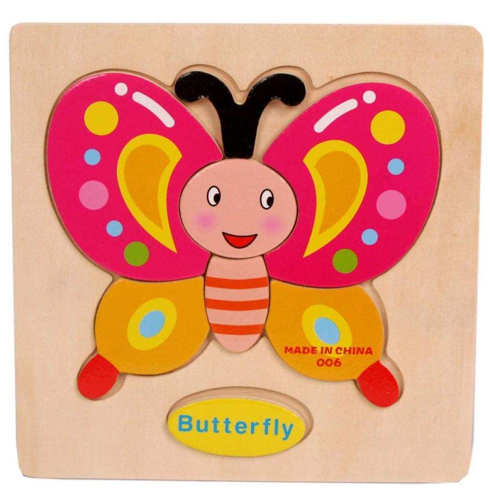 Gbell Wooden Puzzle Set for Preschool Toddler, Cute Animal Fruits Jigsaw Board Educational Toy Gift for 1-3 Year Old Baby Girl and Boy Kids - Rocket Butterfly Plane Cherry Balloon Mouse Pineapple