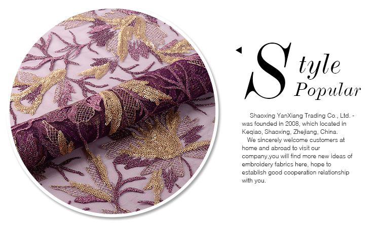 Fast delivery customized elegant purple embroidery sequin fabric gold