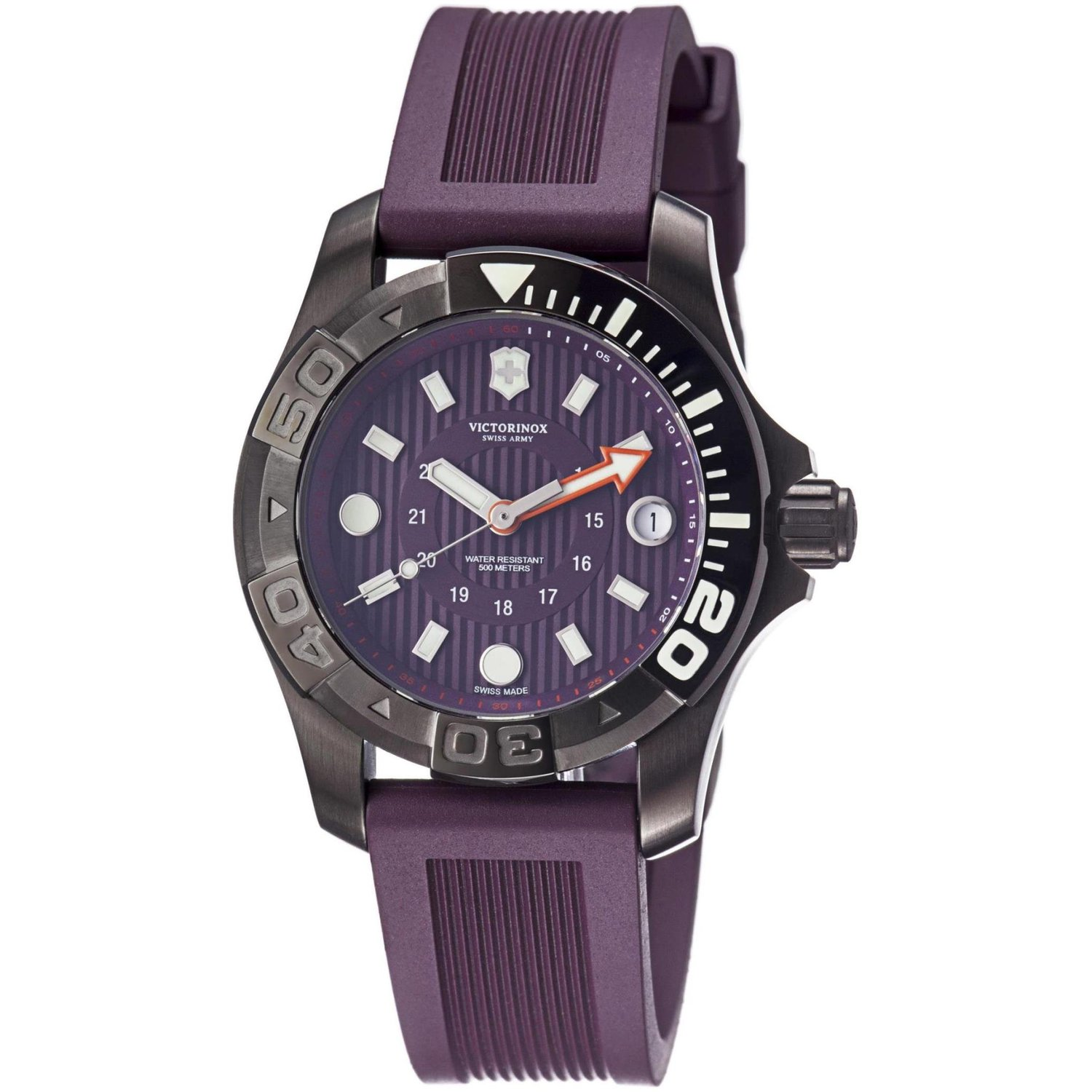Victorinox Swiss Army Watch, Men's Dive Master 500m Purple Rubber Strap 38mm 241558