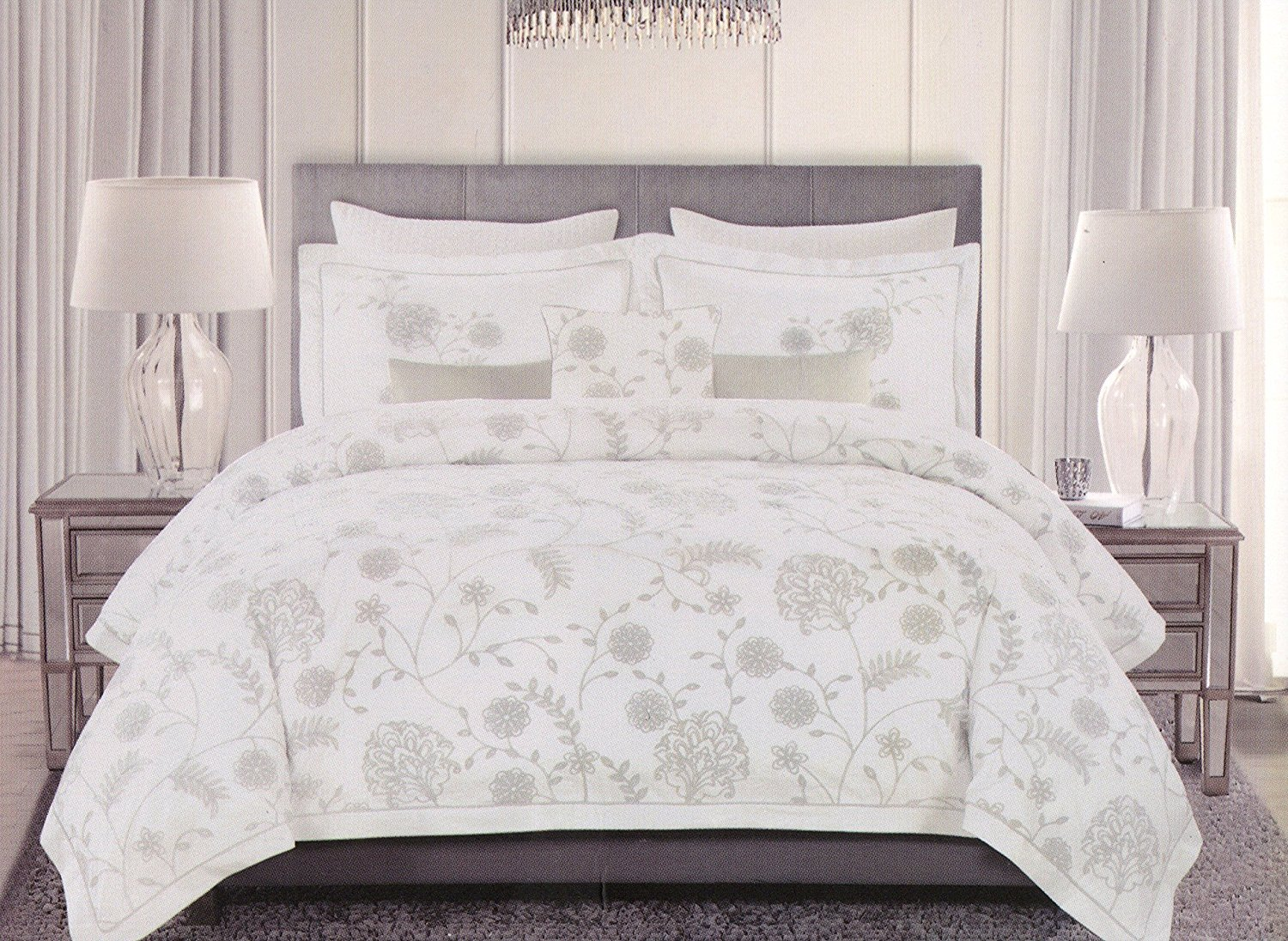 Tahari Home Engrid Garden Flowers 3pc Duvet Cover Set Floral Branches Vines Scrolls Leaves Embroidered Cottage eStyle Gray White Grey (Queen)