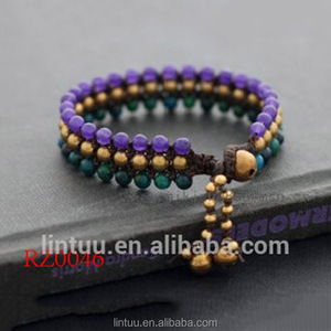 Purple and green beads natural stone beaded bracelet with brass bell