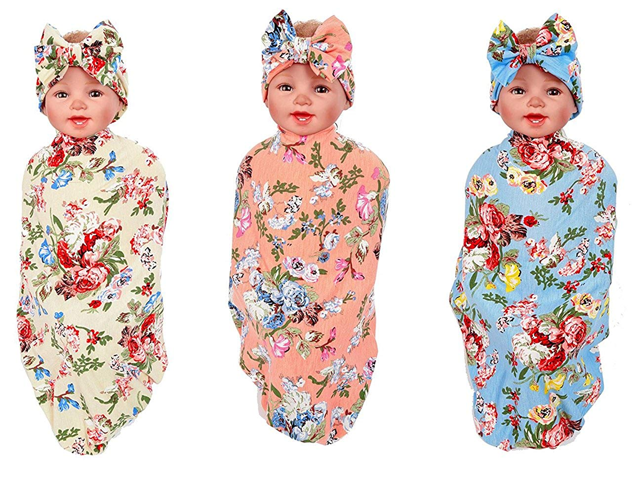 YallFF Swaddle,Swaddle Blanket,Receiving Blankets and Headband Set for Newborn Baby Girl and Boy (1-3 Pack)
