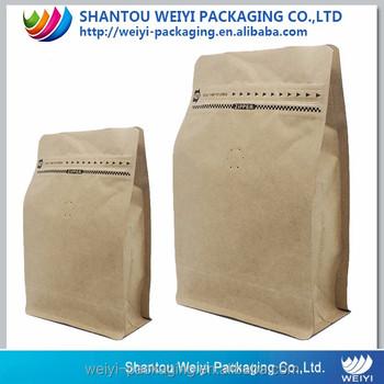 Oem Coffee Packaging Bags With Valve Ziplock Kraft Paper Beans