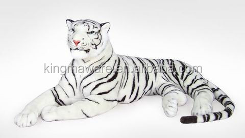 Giant Plush White Tiger Realistic Plush Tiger Plush Toy Life Size