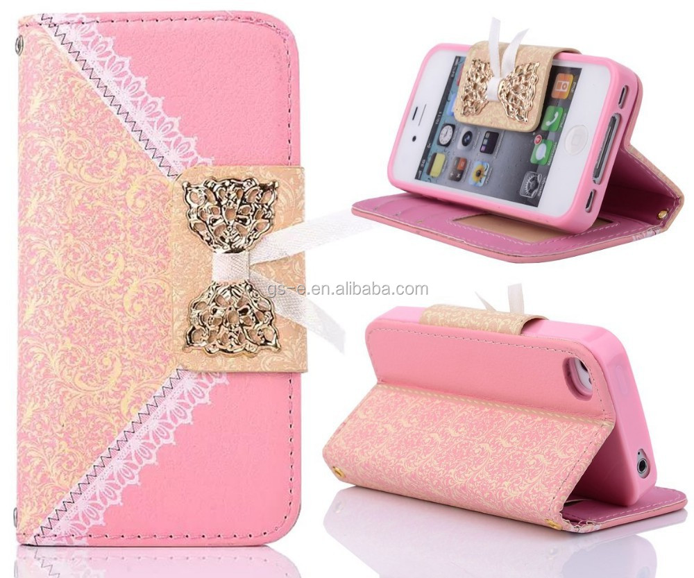 Book Style Lovely Printed Lace Bow Purse Leather Case For Lg G Pad 8.3