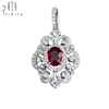 18K Rose White Gold Two Tone Diamond Pendant With Charm Fine Gemstone Luxury Jewelry