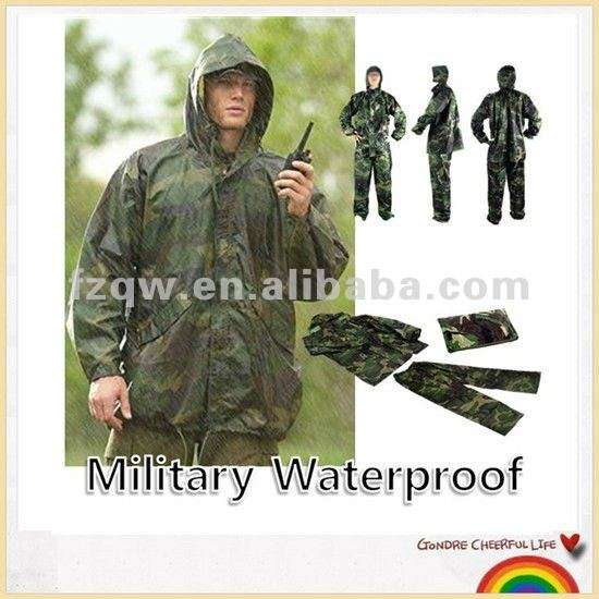 New military waterproof army rain suit hooded jacket & trousers