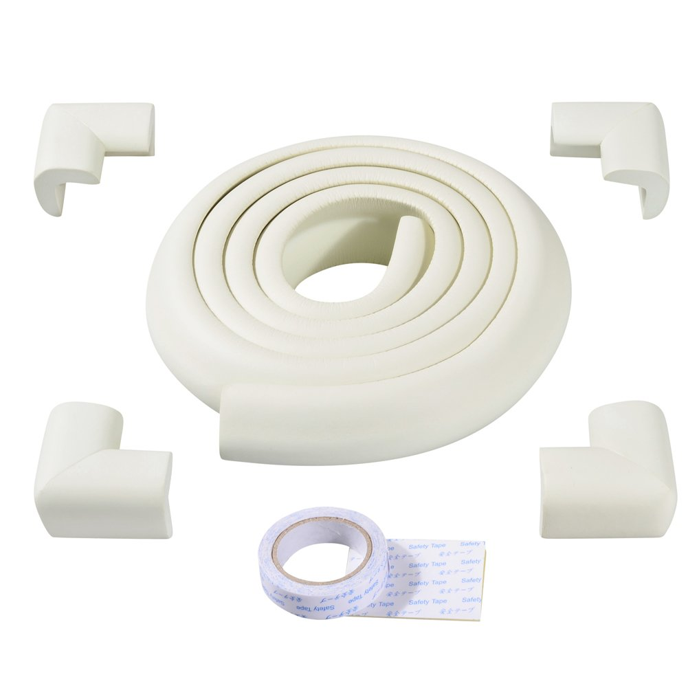 ISOTO Edge and Corner Guards Set Baby Toddler Child 5M/16.5ft L-Type soft Cushion Strip + 4 Corner Safety Glass Table Home Protector Protection Protictive (White, L shape)