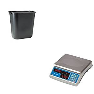 KITRCP295600BKSBWB140 - Value Kit - Salter Brecknell Electronic 60 lb. Coin amp; Parts Counting Scale (SBWB140) and Rubbermaid-Black Soft Molded Plastic Wastebasket, 28 1/8 Quart (RCP295600BK)
