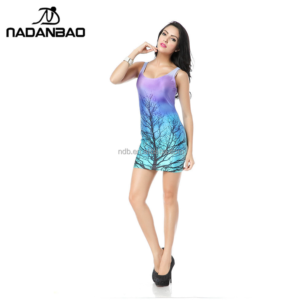 NADANBAO Brand beautiful women OEM tank dress with 3d tree Digital printing
