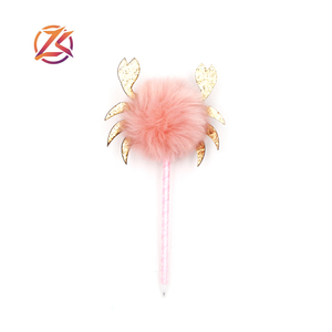 Promotional crab shaped pen cute pom pom pen plush ball pen