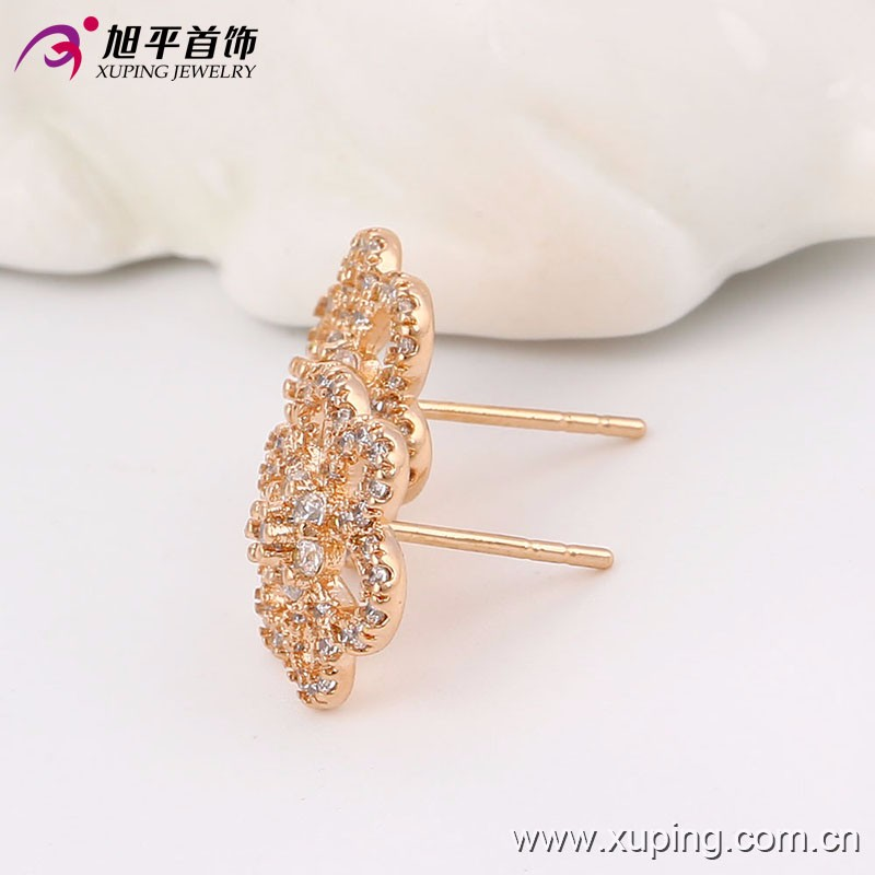 90996 Xuping earring flowers simple design copper alloy stud earrings with rose gold plated