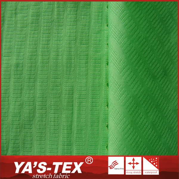 China textile fashion novelty lightweight spandex green dyed jacquard nylon fabric
