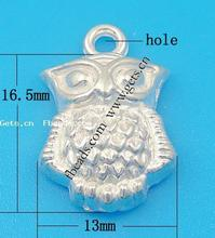 925 Sterling Silver 16.5x13x5mm silver owl pendant