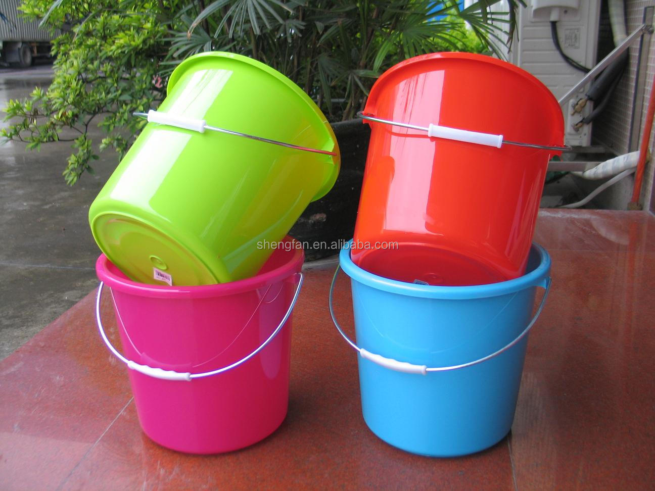 10L plastic bucket cheap with lid handle water bucket