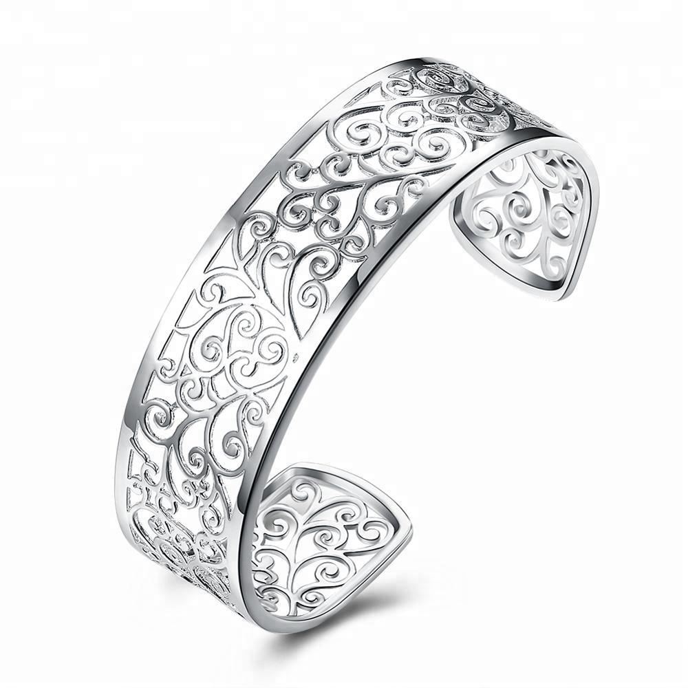 Open Wide Silver Plated Clear Zircon Flower Shape Cuff Bangle
