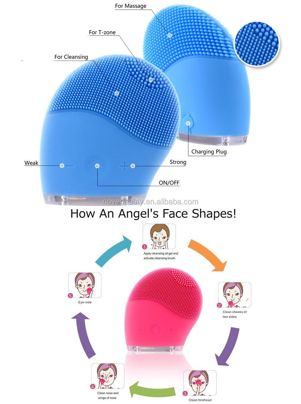 Vibrieren Sie Gesichtshaut-Reinigungsmittel-Massagegerät-elektrische Silikon-Reinigungsgesichtsreinigungsbürste