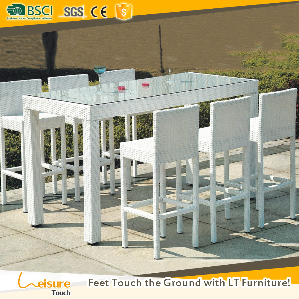 Club wicker rattan outdoor pubs furniture for cheap bar high table and chair sets for bistro