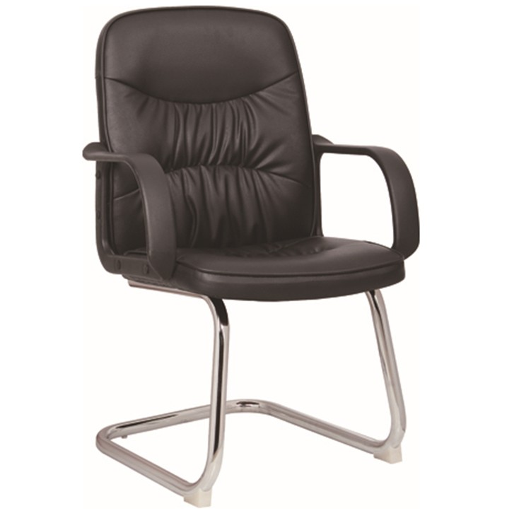 office chairs without wheels z shape legs black pu leather