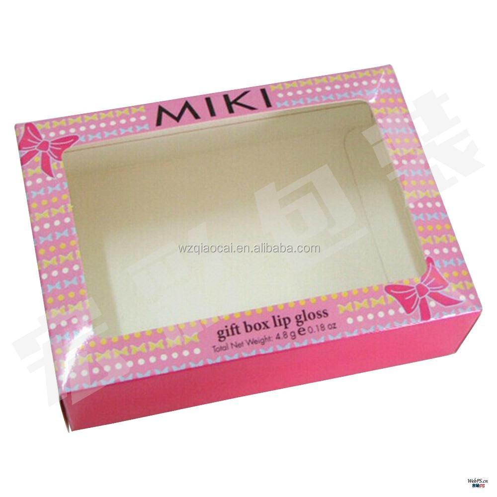 nice cardboard box pink color cosmetic box with window display box