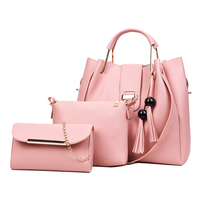 New arrival high quality fashion hand bags luxury pu leather branded tote lady shoulder women's 3 piece handbag sets